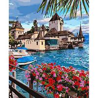 Пейзаж - Волшебная Швейцария. Картина по номерам на холсте - 40х50. С подрамником. Идейка