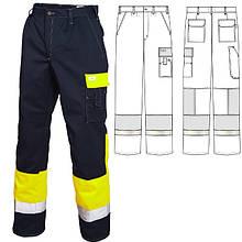 Брюки рабочие летние мужские сигнальные сине-желтые 2131для дорожных рабочих