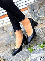 Женские черные туфли на каблуке 38 размер стелька 24.5 см