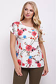 Стильна футболка жіноча з квітами батал