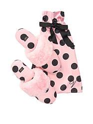 Тапочки Домашні Victoria's Secret Signature Satin Slippers (р. 36-37), Рожеві в горох