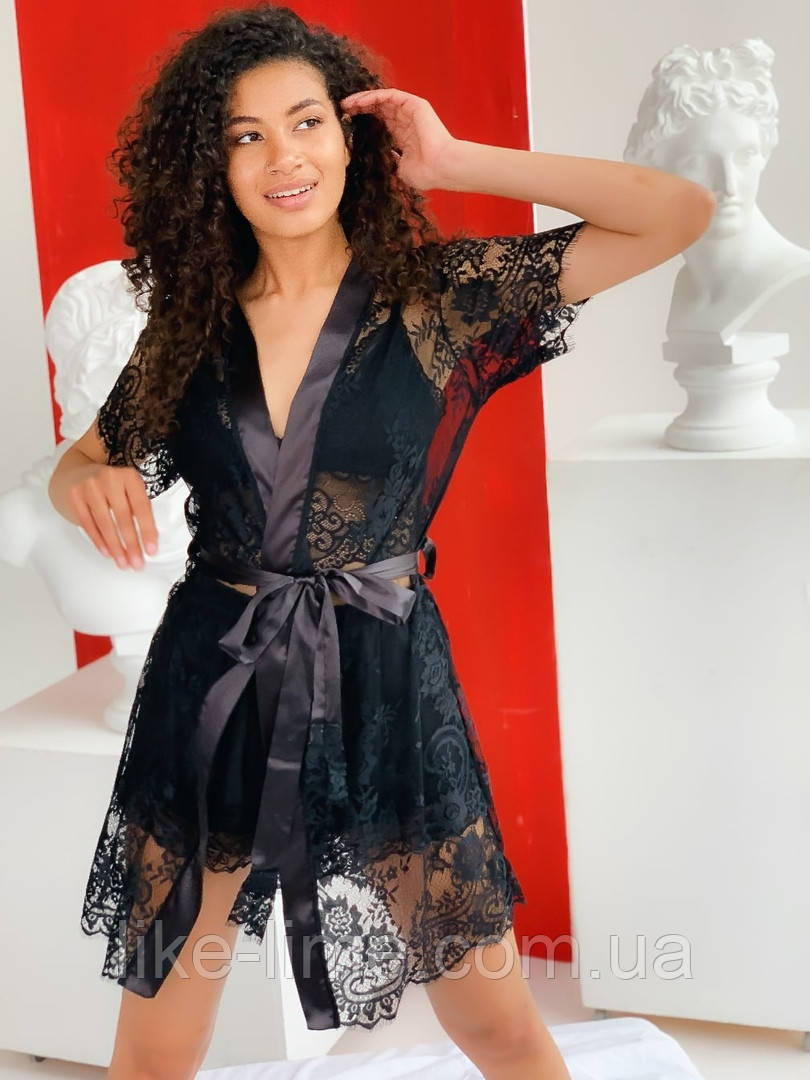Женский пижамный комплект, Кружевной халат плюс пижама