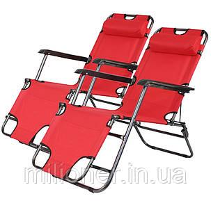 Комплект шезлонгов Bonro 178 см красный (2шт), фото 2