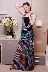 """Платье """"Лагуна"""" (леопардовый принт/синий)"""