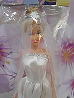 Кукла  в белом  свадебном платье русые волосы