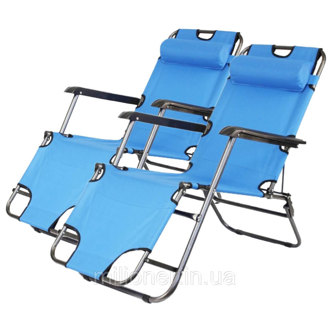 Комплект шезлонгов Bonro 160 см голубой (2шт)
