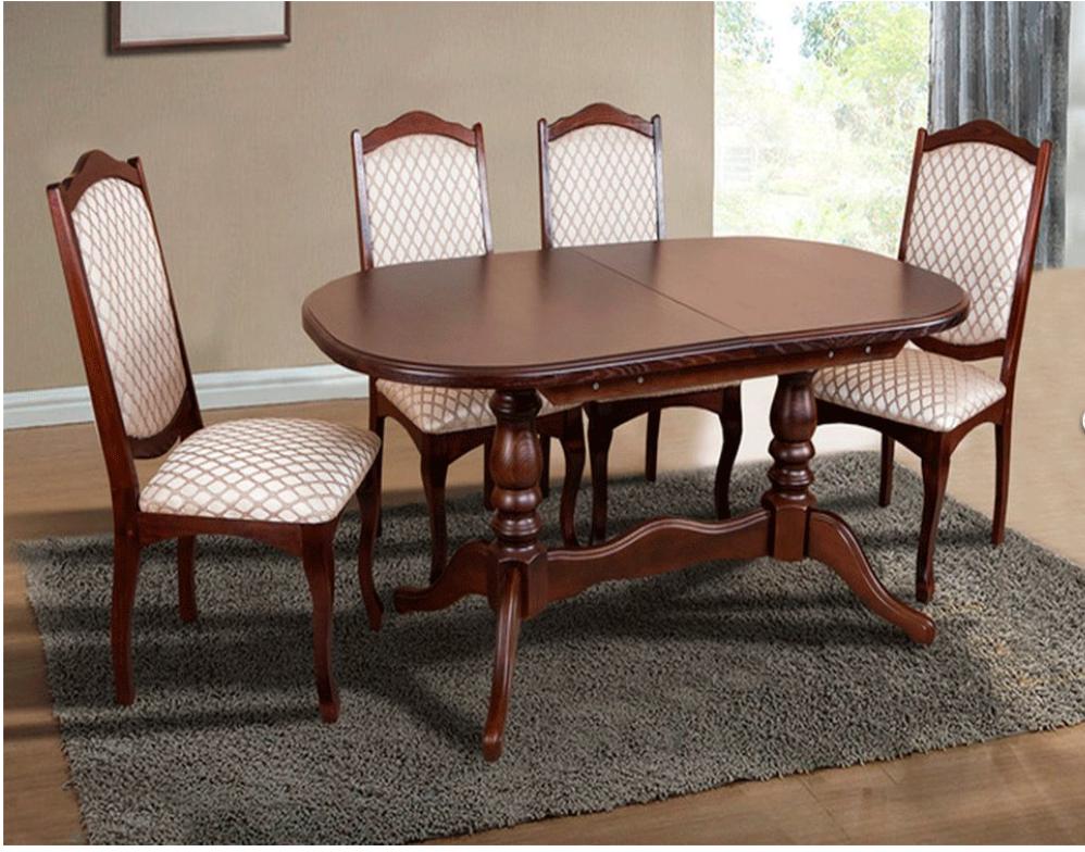 Кухонный комплект -Вавилон. Стол раздвижной и 4 стула. Цвет - т.орех
