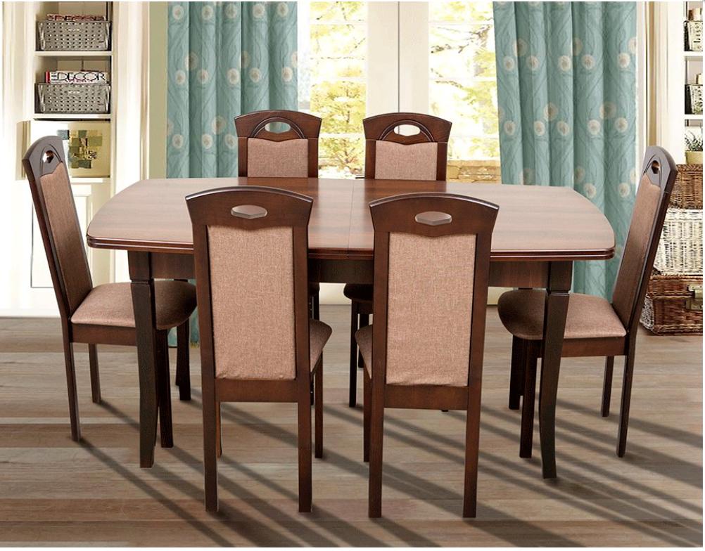 Кухонный комплект -Квартет. Стол раздвижной, 4 стула. Цвет - темный орех.