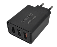 Зарядний пристрій Essager FB, 3usb, 30W, Quick Charge 3.0 чорного кольору