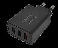 Зарядное устройство Essager FB, 3usb, 30W, Quick Charge 3.0 черного цвета