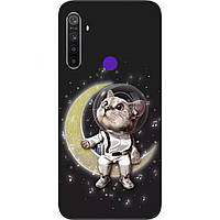 Силиконовый чехол с картинкой для Realme 5 Котик на луне