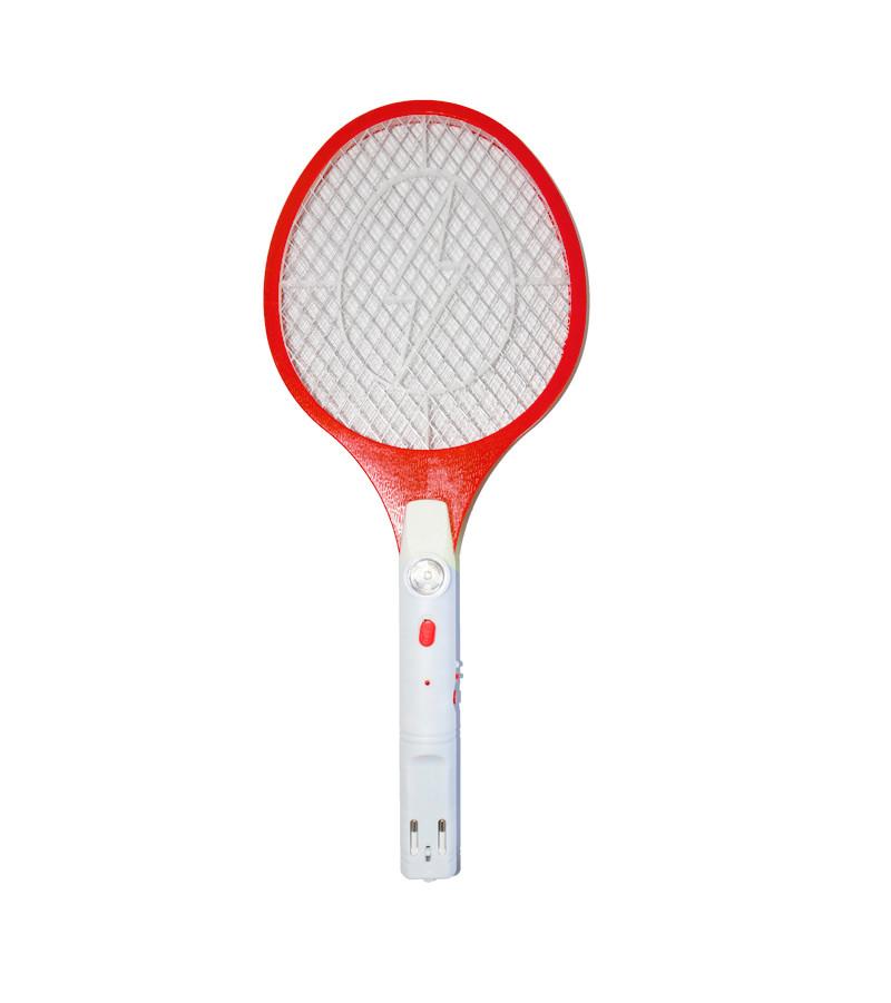 Мухобойка электрическая с фонариком Красная, электрическая ракетка от насекомых   електромухобійка (NS)