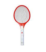 Мухобойка электрическая с фонариком Красная, электрическая ракетка от насекомых | електромухобійка (NS)
