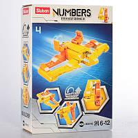 """Конструктор для детей  модель SLUBAN M38-B0819E 2в1, """"Цифра, и транспорт"""", в коробке 98 деталей сборки."""
