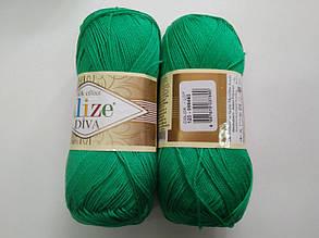 Пряжа Дива (Diva) ALIZE цвет 123 зеленый