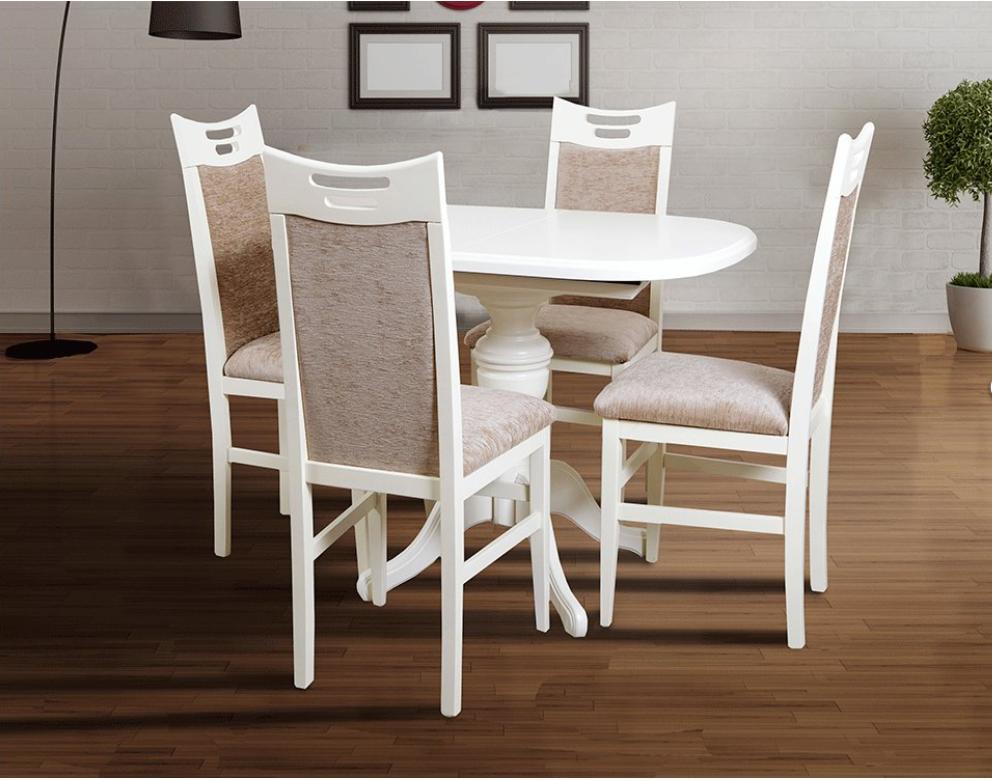 Кухонный комплект -Триумф. Стол и 4 стула. Цвет - слоновая кость,белый.