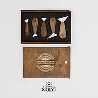 Набір ножів прапорців 5 штук у пеналі, для різьби по дереву від виробника STRYI