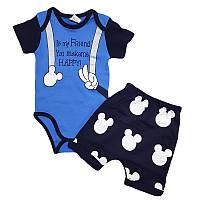 Костюм для мальчика 56-74 (0-9 месяцев) боди + шорты 1907