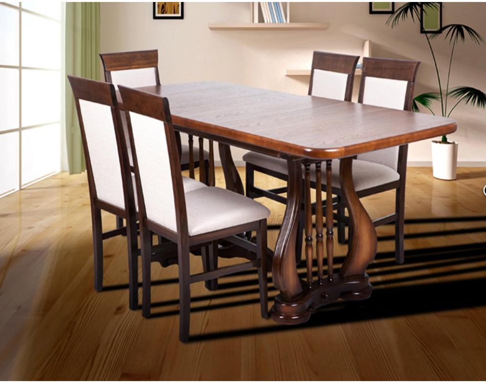 Кухонный комплект -Арфа. Стол раздвижной, 4 стула. Цвет - орех темный.