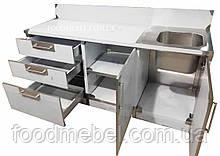 Тумба из нержавеющей стали с ящиками и мойкой для летней кухни