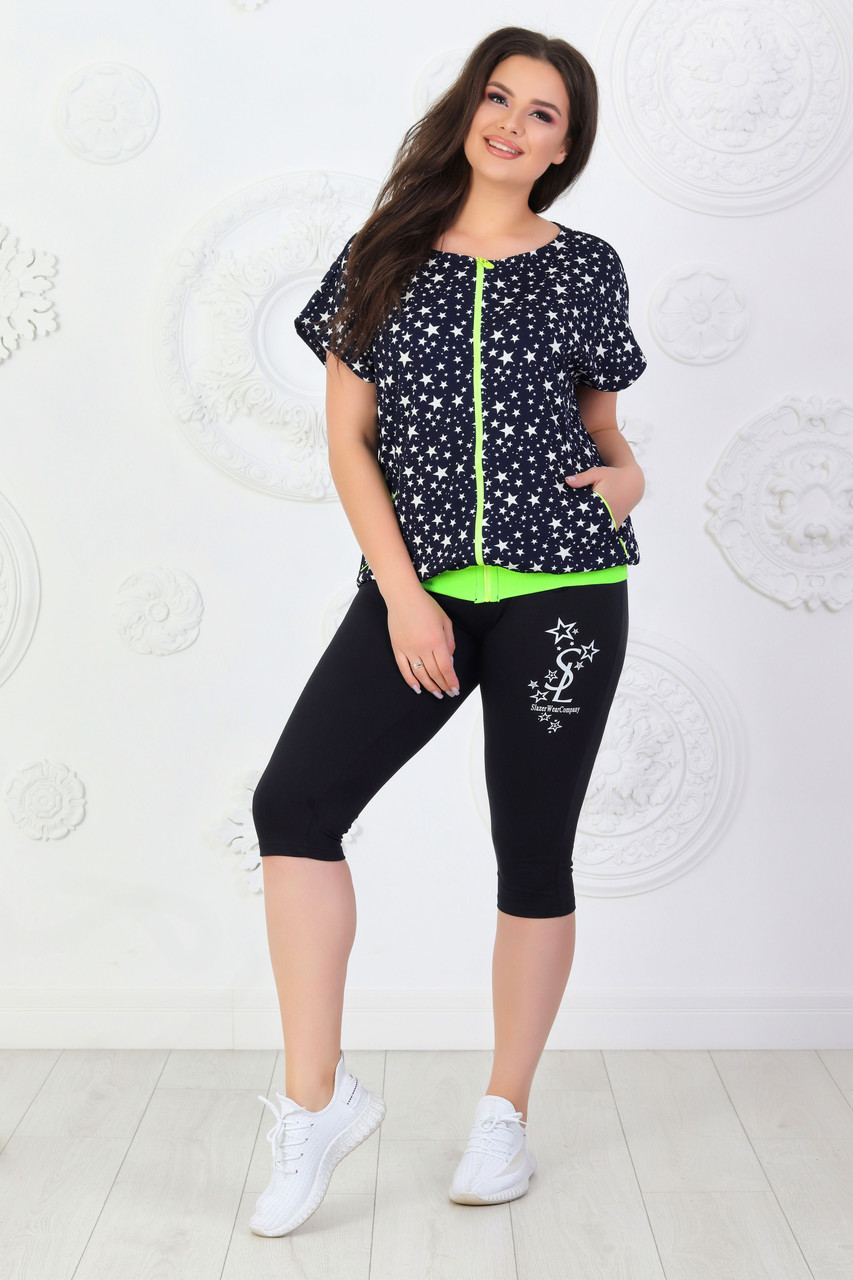 Літній повсякденний жіночий костюмчик спортивного стилю з фактурного трикотажу і двуніткі