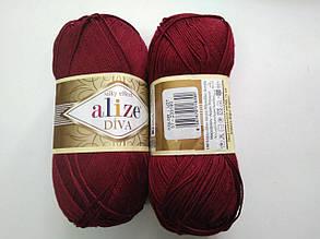 Пряжа Дива (Diva) ALIZE цвет 57 бордовый