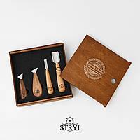 Набор инструментов для резьбы по дереву в деревянной коробке, 4 шт, фото 1