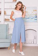 Модная летняя юбка миди льняная