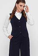 Женский деловой синий жилет