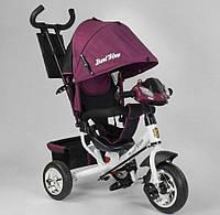 Детский трёхколёсный велосипед  Best Trike 6588-28-549 с фарой и родительской ручкой, бордовый