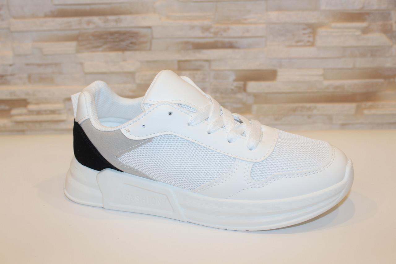 Кроссовки женские белые с серыми и черными вставками Т1035