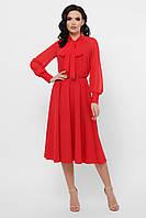 Стильное красное  платье миди шифоновое