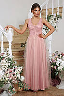 Красивое женское вечернее платье в пол из атласа