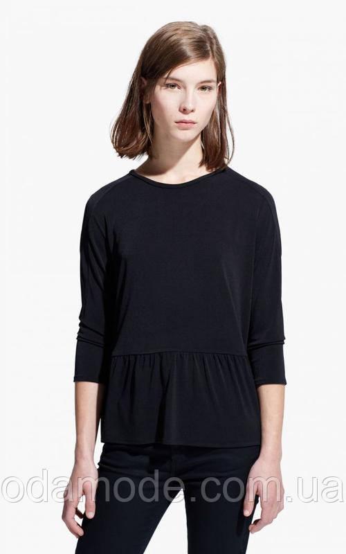 Блуза женская  чёрная с баской Mango