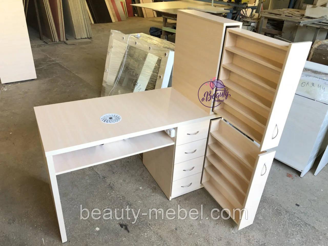 Маникюрный стол с мощной вытяжкой, полкой для лаков и ящиком карго.