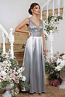Женское серое платье с открытой спиной