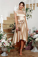 Женское платье атласное бежевое