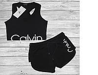Черный спортивный костюм комплект топ шорты бренд CK