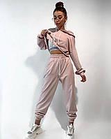 Укорочене худі з капюшоном штани на резинці спортивний жіночий костюм / худи с капюшоном брюки розовый пудра