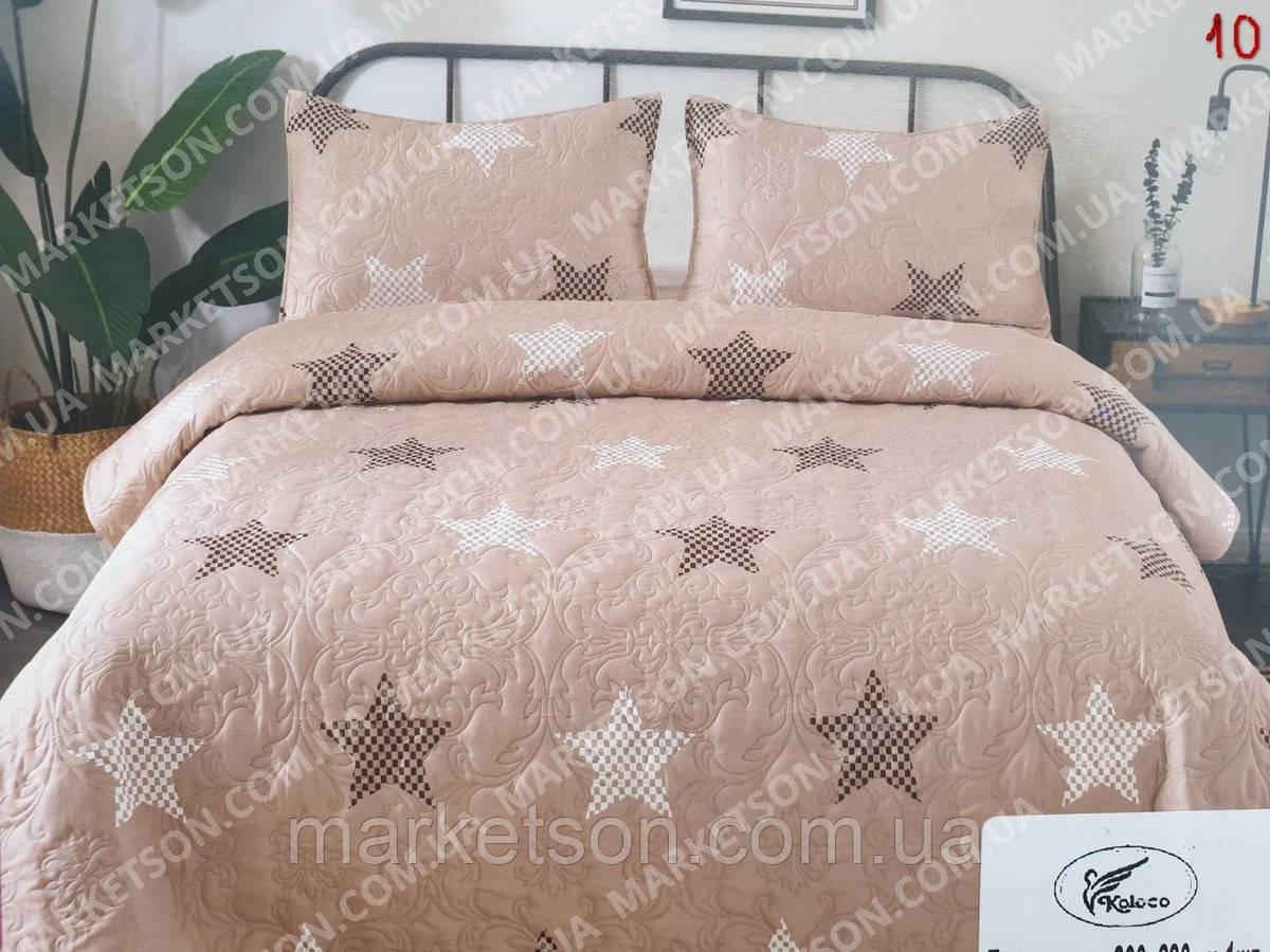 Покривало стьобане на ліжко з наволочками. Бавовна.200х230