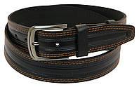 Кожаный ремень под джинсы Skipper 1049-40 черный 135х4 см