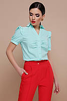 Женская мятная блузка с коротким рукавом