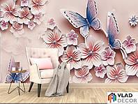 Фотообои 3D цветы и бабочки по Вашим размерам