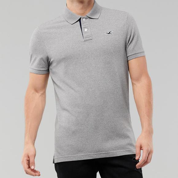 Мужская светлая хлопковая футболка с воротником серая Hollister Stretch Polo
