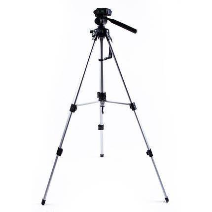 Штатив тренога для телефона 60-122 см, камеры, фотоаппарата, цвет серебряный, STC-260, фото 2