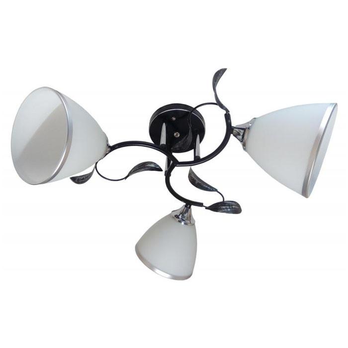 Люстра потолочная с черным основанием+хром на 3 плафона B N2709/3