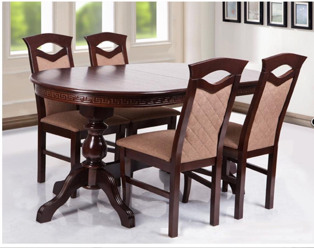 Кухонный комплект -Дуэт. Стол раздвижной, 4 стула. Цвет - орех темный.