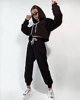Укорочене худі з капюшоном штани на резинці спортивний жіночий костюм / худи с капюшоном брюки черный