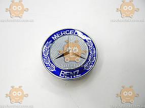 Эмблема колеса MERCEDES Мерседес ХРОМ синяя (4шт) пластик (колпачки колеса для титанов) (диаметр ф75мм) 171103, фото 2