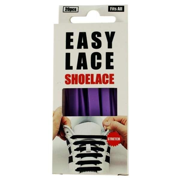 ✅ Силиконовые шнурки для обуви Easy Lace Flat Box фиолетовые, плоские / 20 шт